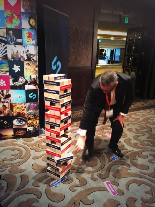 Jenga was individual rounds against the clock - 2 mins to build the highest tower with one hand! Removable floor vinyls added an extra touch to the conference area.