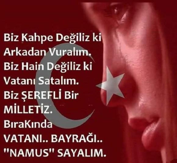 Biz kahpe değiliz ki arkadan vuralımbiz hain değiliz ki vatanı satalımbiz şerefli bir milletiz bırakında vatanı bayrağı namus sayalım - Türk Ve Türkiye İle İlgili Resimli Sözler - Türk Ve Türkiye ile ilgili sözler, guzel-sozler