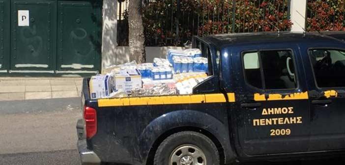 Προσφορά τροφίμων στο Εθελοντικό Κλιμάκιο Πεντέλης