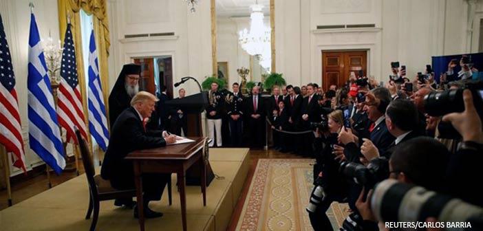 Ντ. Τραμπ: Οι ΗΠΑ έχουν διαμορφωθεί βαθιά από τον ελληνικό πολιτισμό