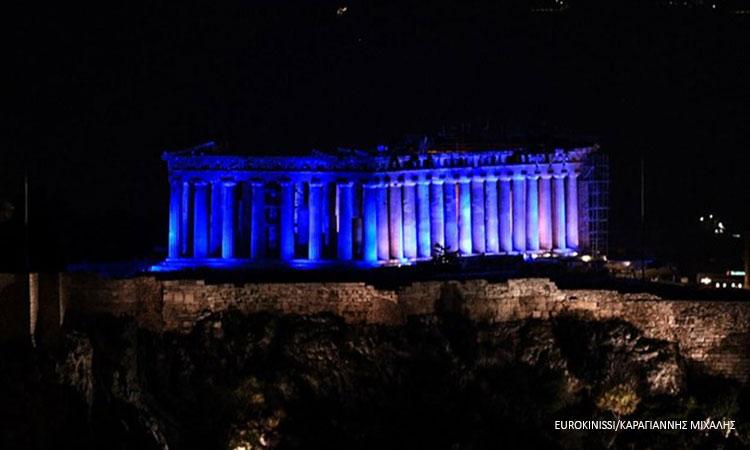 Η Ακρόπολη φωταγωγήθηκε στα χρώματα της Unicef