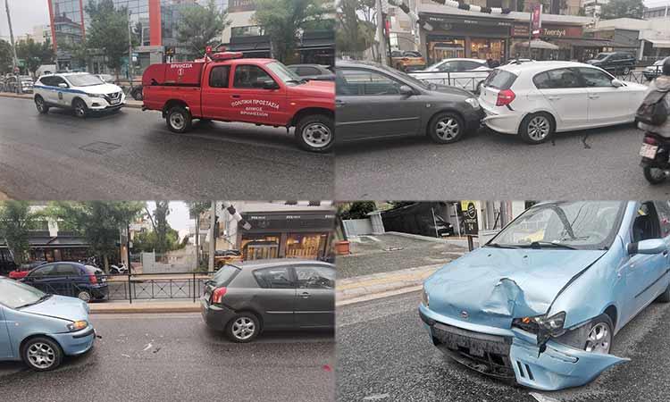 «Καραμπόλα» τριών οχημάτων στα Βριλήσσια… έφερε το ψιλόβροχο