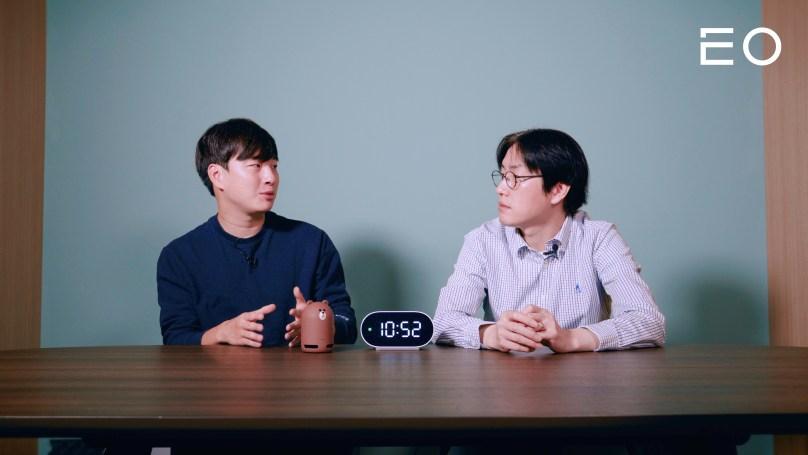 (왼쪽부터) EO 김태용 대표, 네이버 AI 연구소 하정우 책임 리더