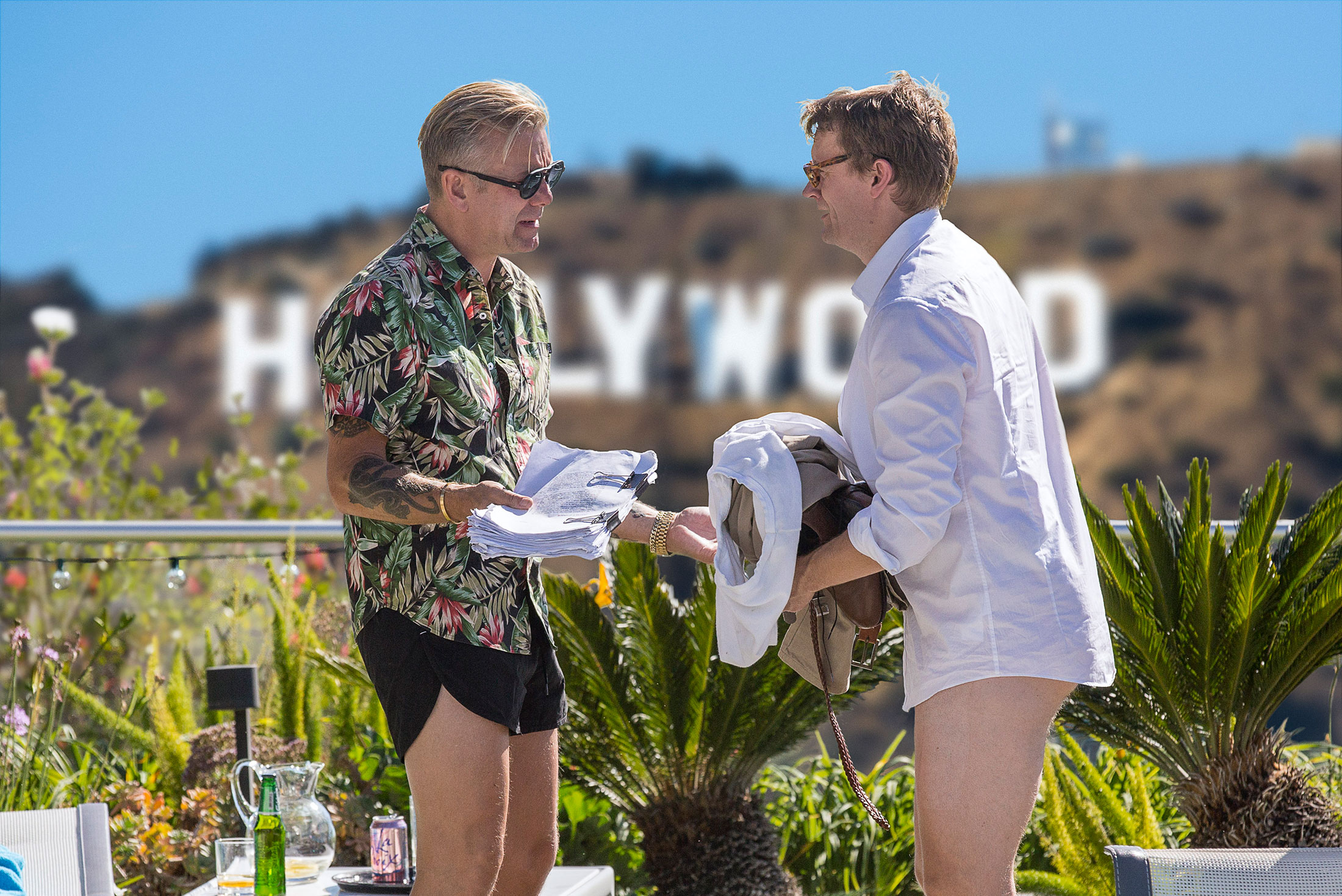 Casper Christensen and Frank in front of the Hollywood sign in the movie Klovn Forever. Casper is wearing Los Felice Sunnies by Entourage of 7.