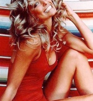 A classic iconic photo of Farrah Fawcett