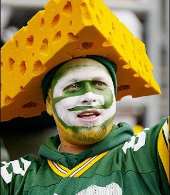 A Green Bay Packer Cheese Head Fan...