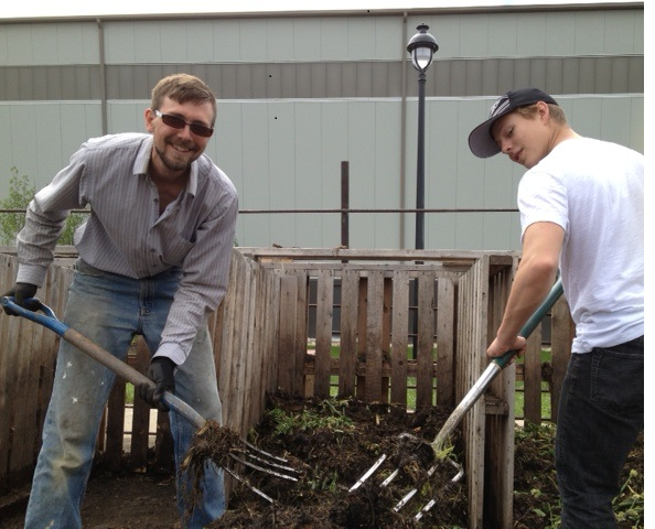 Andy (l) and Jeremy (r) loving our compost