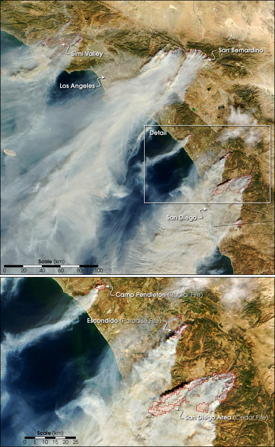 Wildfires Strike Near Los Angeles And San Diego Image Of
