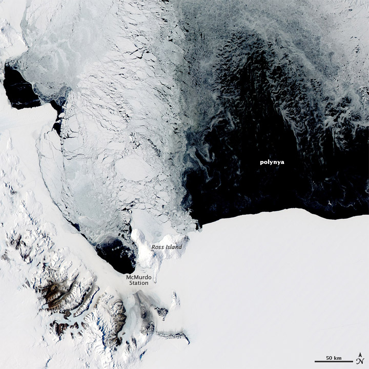 Polynya off the Antarctic Coast