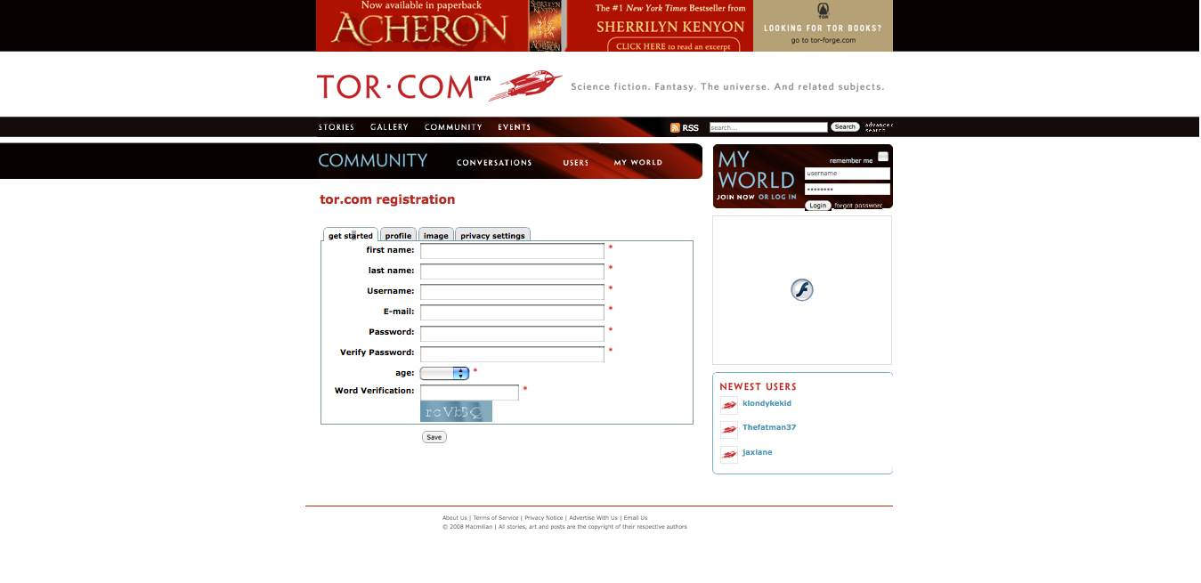 The Tor Registration Page