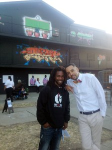 Jarrel Phillips, AVE Founder, with the artist Ise Lyfe