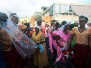 Rara Season in Haiti April 2014. Dancing queens in the streets. Somewhere between Port-au-Prince and Gonaives. Celebrating life, Easter, the Lwa, Kanaval, Spring, etc. Photo by Christine Joy Ferrer