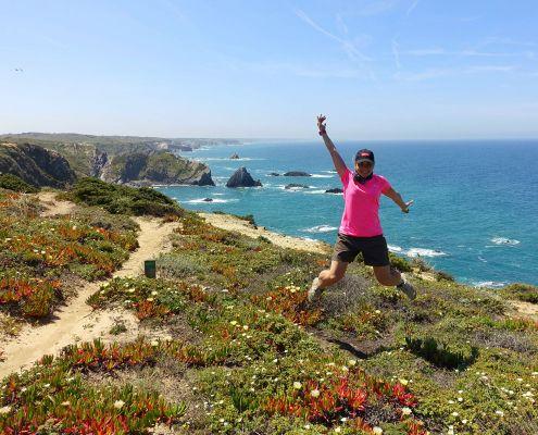 salto di felicità lungo il Cammino