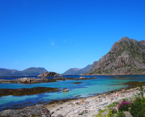 spiaggia color turchese a Henningsvaer