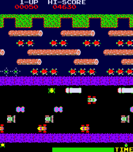 Frogger game screenshot. The frog in the bottom-left corner has to successfully navigate a busy road and a river filled with turtles and floating logs to reach his home in the top part of the screen. The frog's journey resembles the process of vertical mixing of small grains in protoplanetary disks. (image: https://en.wikipedia.org/wiki/Frogger)