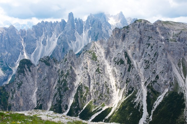 The breathtaking white-gray peaks in the Italian Alps.