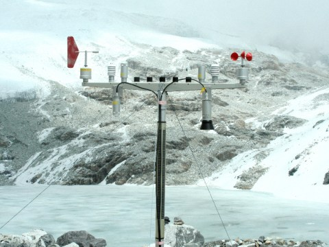 An automatic weather station at Langtang Mountain in Nepal Himalaya measures and transmits weather data in real time. Information from this and other stations could be placed on a data-sharing portal so that users will have easy access to information on shifting weather patterns, climate predictions, and predicitons of disease outbreaks.  Credit: Jeeban Panthi