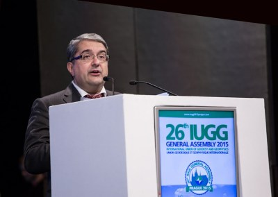 Alik Ismail-Zadeh, secretary general of the International Union of Geodesy and Geophysics, spoke at the organization's general assembly this summer in Prague, Czech Republic. Credit: IUGG & C-IN