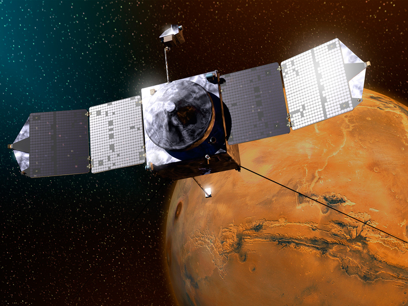Artist's rendering of NASA's MAVEN spacecraft, which observes interactions between the solar wind and the upper atmosphere of Mars.