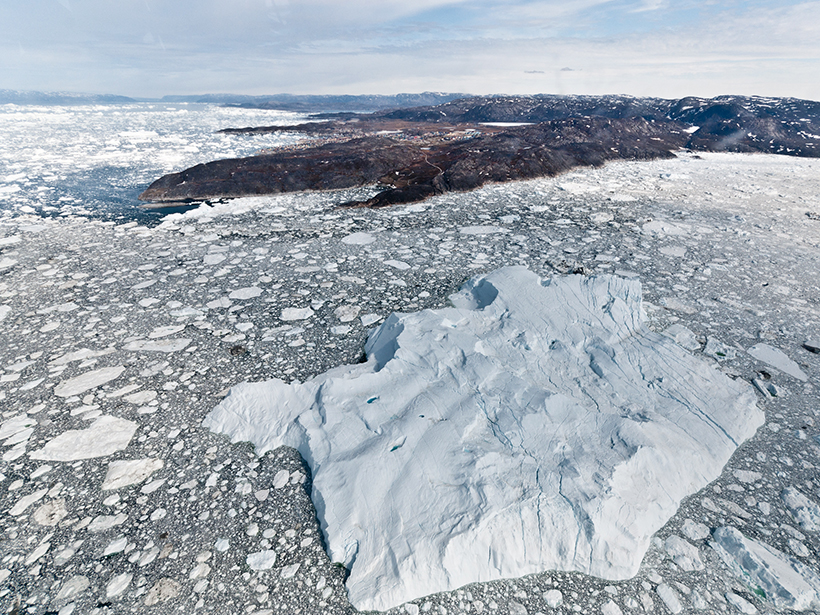 Iceberg near Greenland. One of many stranded in this shallow area.