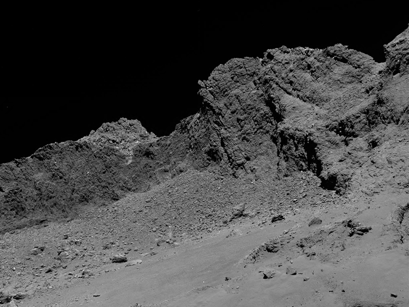 Image of comet 67P/Churyumov-Gerasimenko from a camera aboard Rosetta spacecraft shortly before the spacecraft's controlled crash.
