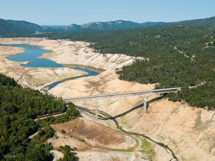 Lake Oroville shows the effects of California's extended drought.