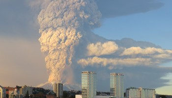Calbuco volcano in Chile erupting and injecting ash and gases into the atmosphere.