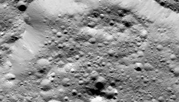 A section of the rim of Ernutet crater, captured by NASA's Dawn Spacecraft on 26 January.