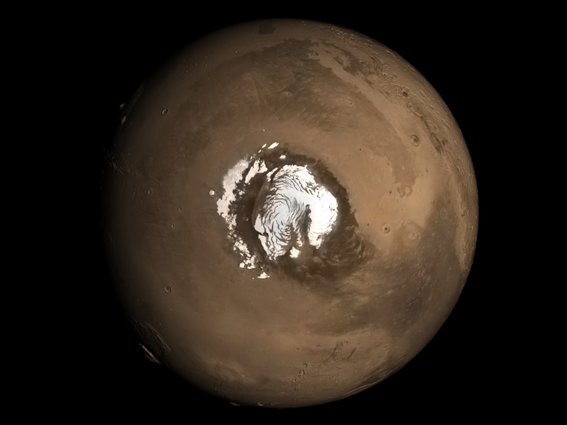 Researchers investigate the layers of ice and dust at Mars's north pole.