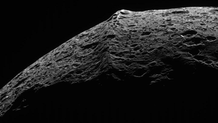 A close-up view of Iapetus's mysterious ridge, from the Cassini spacecraft.