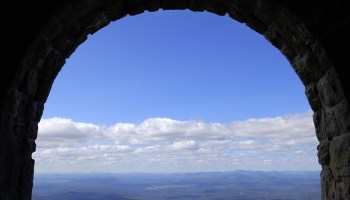 A view of New York State's Adirondack Park from a visitor's center on Whiteface Mountain.