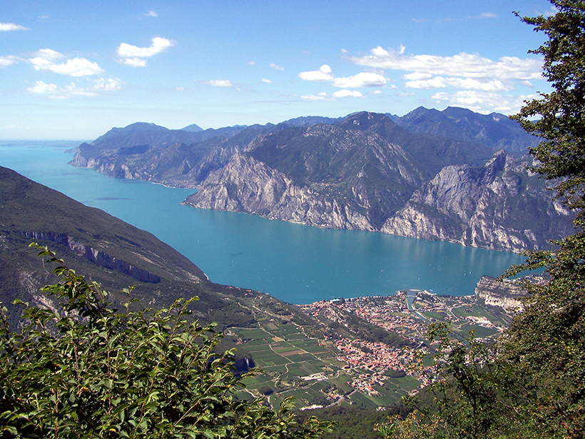 A view of the northern part of Italy's Lake Garda, taken from the surrounding mountains.
