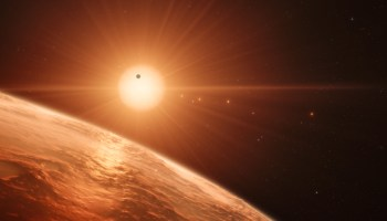 An artist's impression shows the view from the surface of one of the seven worlds that circle the cool dwarf star TRAPPIST-1.
