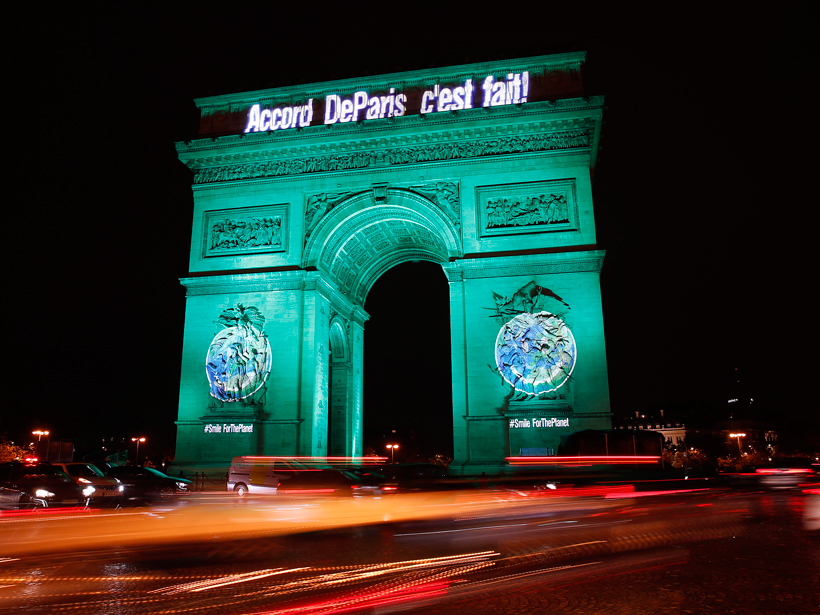 The Arc de Triomphe in Paris glowed a celebratory green on 4 November 2016, the day the climate accord negotiated in that city took effect.