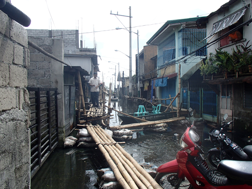 In September 2009, Typhoon Ketsana dropped 455 millimeters of rain on Manila in 24 hours, flooding the city.