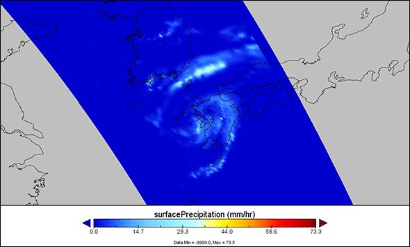 NASA Panoply map of surface precipitation during July's Tropical Storm Nanmadol