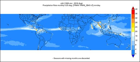 Giovanni map of summer precipitation 1998–2016