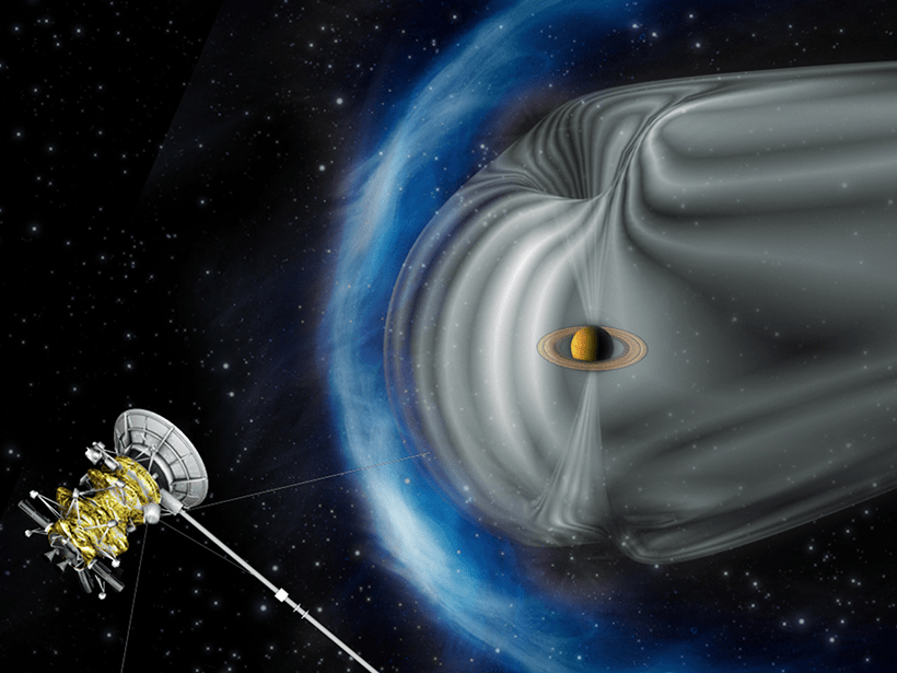 Researchers examine how Saturn's magnetic field overlaps with that of the Sun.