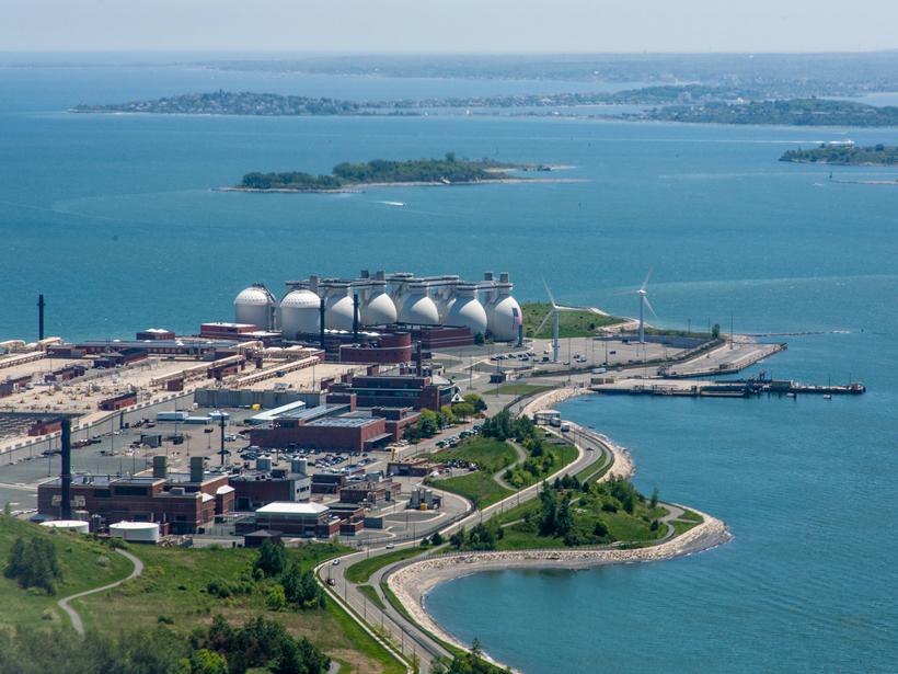 Deer Island Wastewater Treatment Plant in Boston Harbor, in Massachusetts.