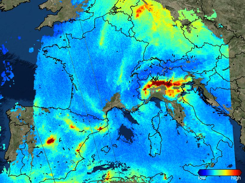 Nitrogen dioxide over Europe on 22 November 2017.