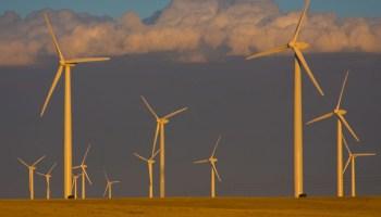 Wind turbines on the Cedar Creek wind farm near Grover, Colo