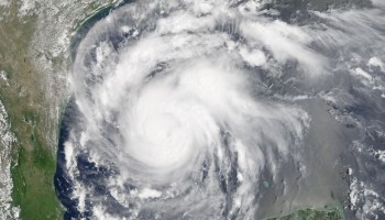 Natural color image of Hurricane Harvey captured by MODIS on 24 August 2017.