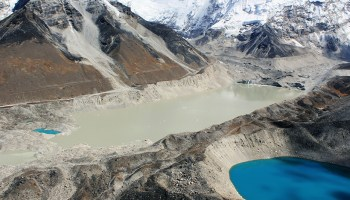 Imja Lake—the long, silty lake in this 2010 photo—has grown in front of Imja and Lhotse Shar glaciers (top right) in the Himalayas.