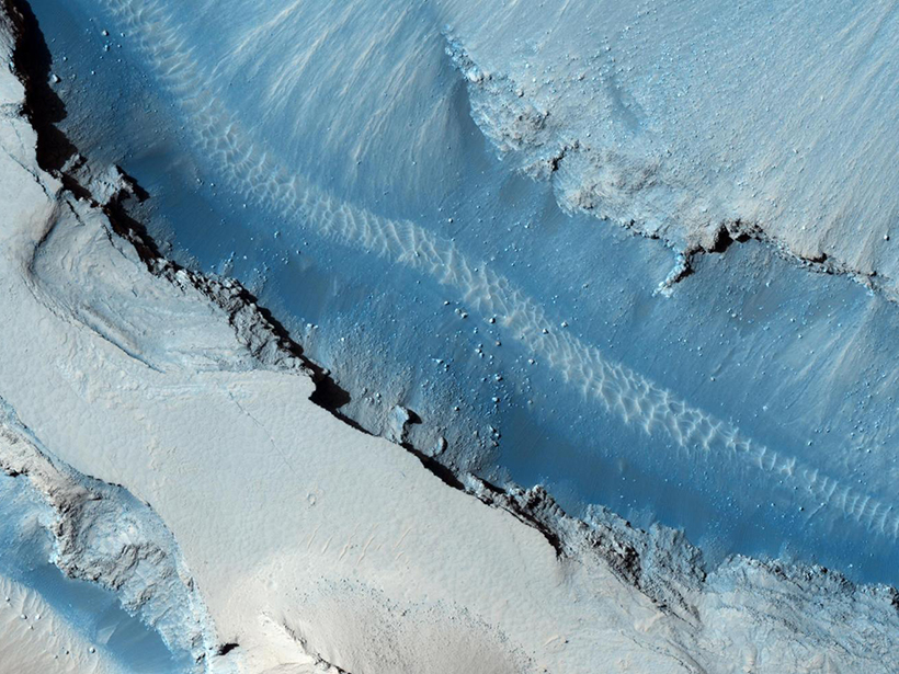 Image of part of the Cerberus Fossae fault, taken by the HiRISE instrument aboard the Mars Reconnaissance Orbiter.
