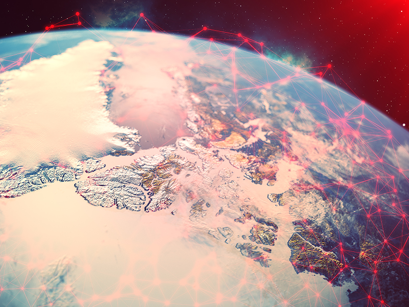 Planet Earth seen from space with illustrated data networks