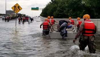 The Texas Army National Guard assists in flood rescues associated with Hurricane Harvey on 27August 2017
