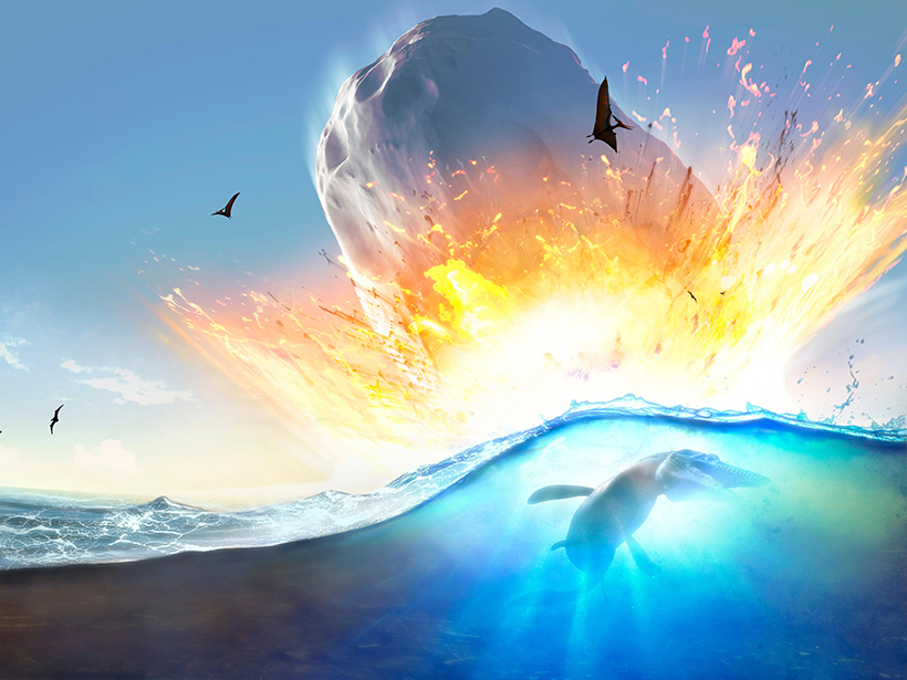 Artist's impression of an asteroid impacting shallow waters near the modern-day Yucatán Peninsula.