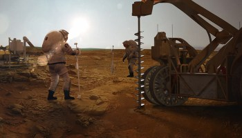 Artist's rendering of explorers on Mars extracting water from subsurface ice deposits.