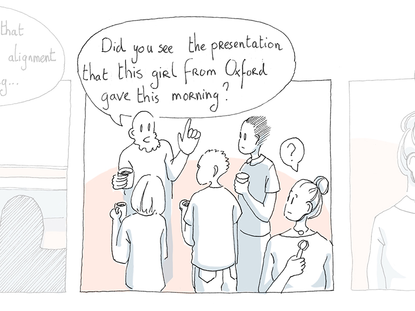 A panel in a comic strip created for the Did This Really Happen? Project, which draws attention to casual sexism in academia.