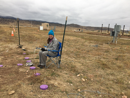Researcher Bridget Ulrich collects an underground gas sample at METEC.